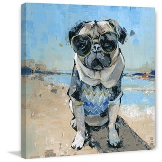 Handmade Cool Pug II Print on Wrapped Canvas