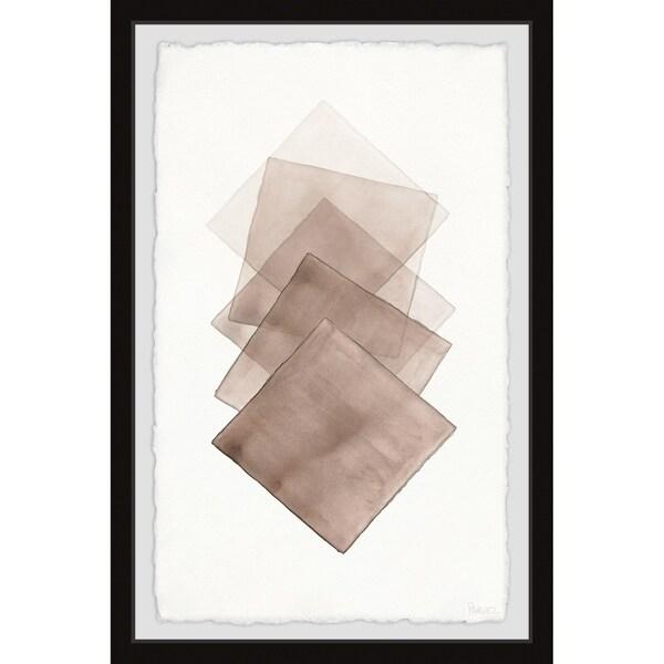 Handmade Five Brown Squares Framed Print
