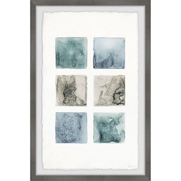 Handmade Dark Shaded Squares Framed Print
