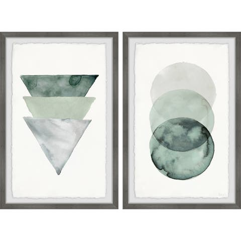 Handmade Midnight Forest Shapes Diptych - Multi-color