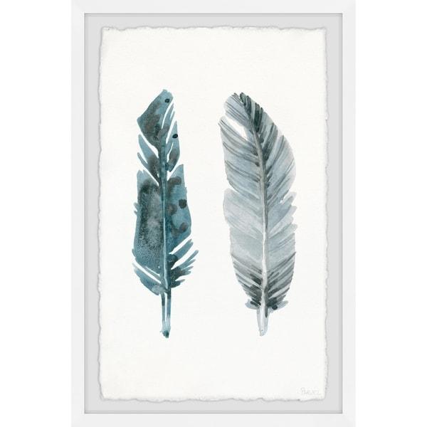 Handmade Metallic Feathers Framed Print. Opens flyout.