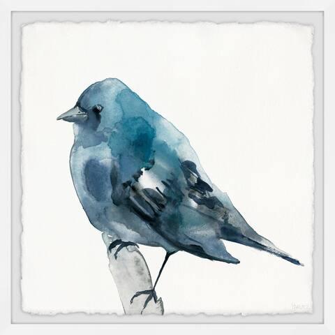 Handmade Chubby Blue Bird Framed Print