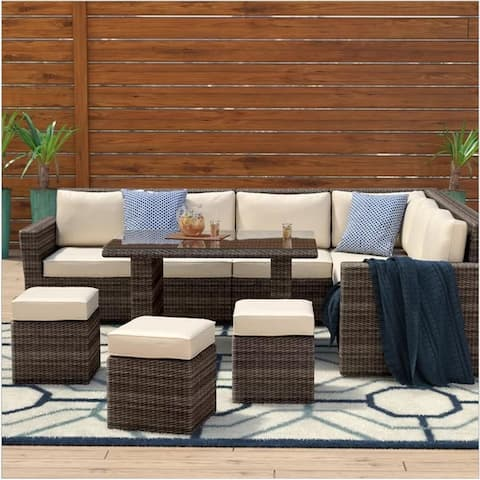 DIRECT WICKER Outdoor 8-piece Wicker L-Shaped Sectional Sofa Set