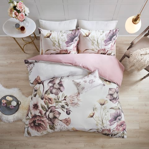 Madison Park Gisele Blush Cotton Printed Duvet Cover Set