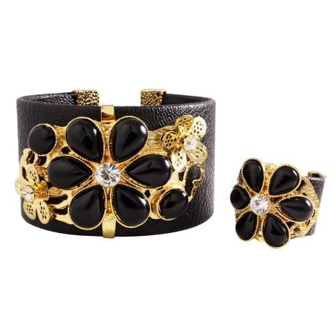 Dazzling Black Jeweled Cuff Bracelet with Finger Ring