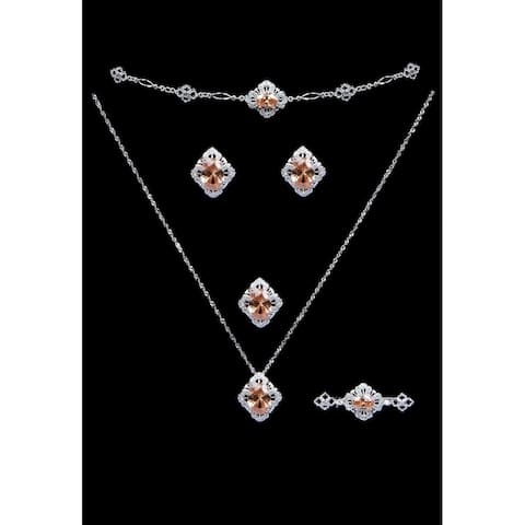 Champagne CZ Necklace Set with Er, BR, Broach pin & Ring