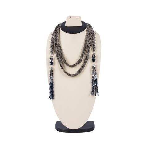 Long Beaded Necklace (Silver)