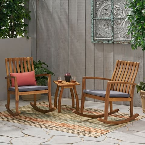 Colmena Outdoor 2 Seater Rocking Chair Set with Side Table by Christopher Knight Home