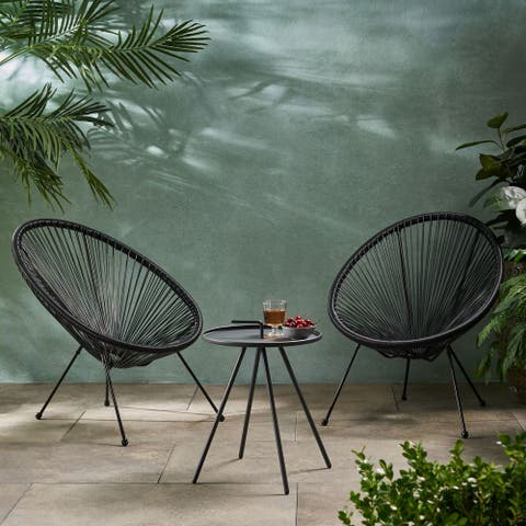 Vida Outdoor Woven 3 Piece Chat Set by Christopher Knight Home