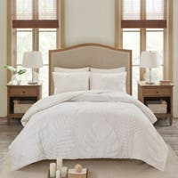 Madison Park Osanna White Tufted Cotton Chenille Palm Comforter Set