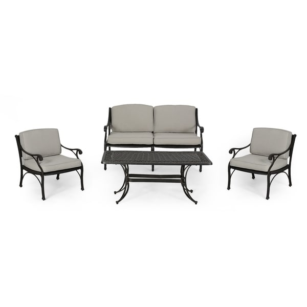 Superieur Sunshine Outdoor 4 Seater Aluminum Club Chair Set With Coffee Table And  Loveseat By Christopher Knight