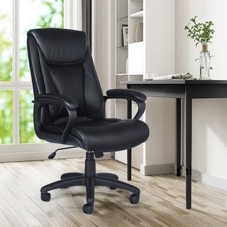 Porch & Den Rystadt Black Leather High-back Executive Swivel Chair with Arms