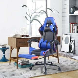 Furniture R Sport Ergonomic High Back Racer Style Gaming Chair with ottoman