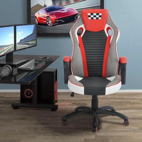 Porch & Den Twinflower Racing Ergonomic High-back Swivel Gaming Chair