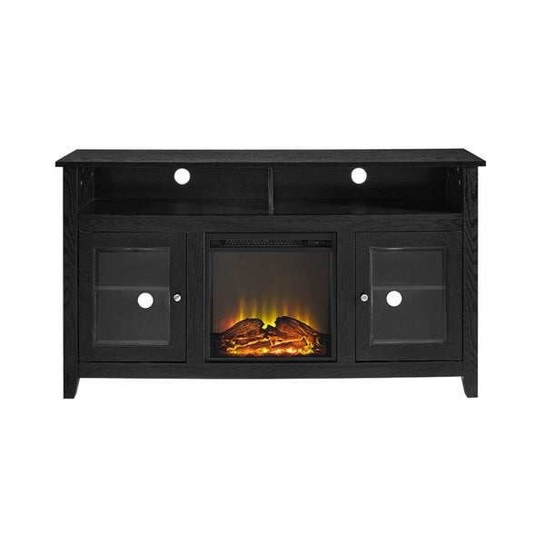 Shop 58 Inch Black Wood Highboy Fireplace Media Tv Stand
