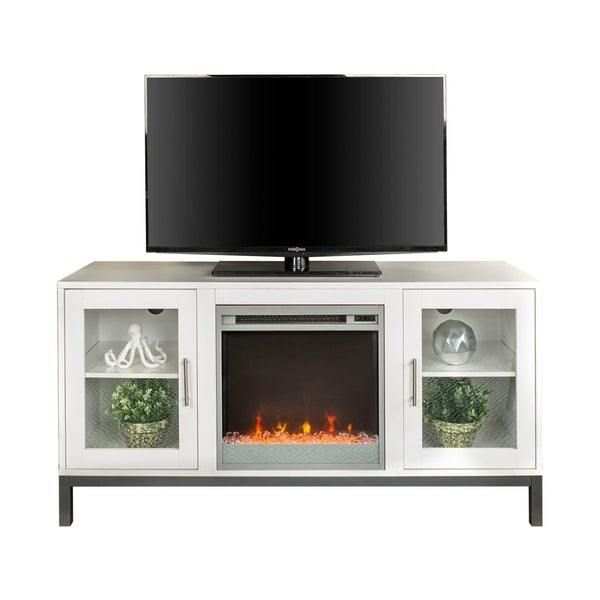 Shop 52 Quot Avenue Wood Fireplace Tv Console With Metal Legs