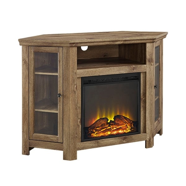 Shop 48 Quot Wood Corner Fireplace Media Tv Stand Console
