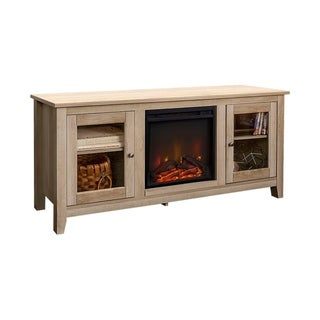 White Oak Wood 58-inch Media TV Stand Console with Fireplace