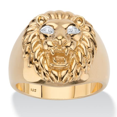 Men's Gold over Sterling Silver Genuine Diamond Accent Lion Ring