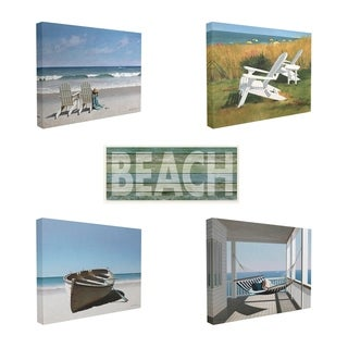 The Stupell Home Decor Collection New England Beach Scene 5 Piece Gallery Wall Art Set