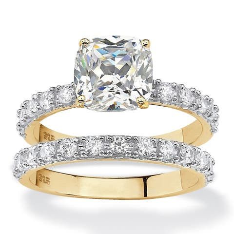 Yellow Gold over Silver Princess Cut Bridal Ring Set Cubic Zirconia