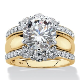 Link to Yellow Gold over Sterling Silver Cubic Zirconia Bridal Ring Set Similar Items in Rings