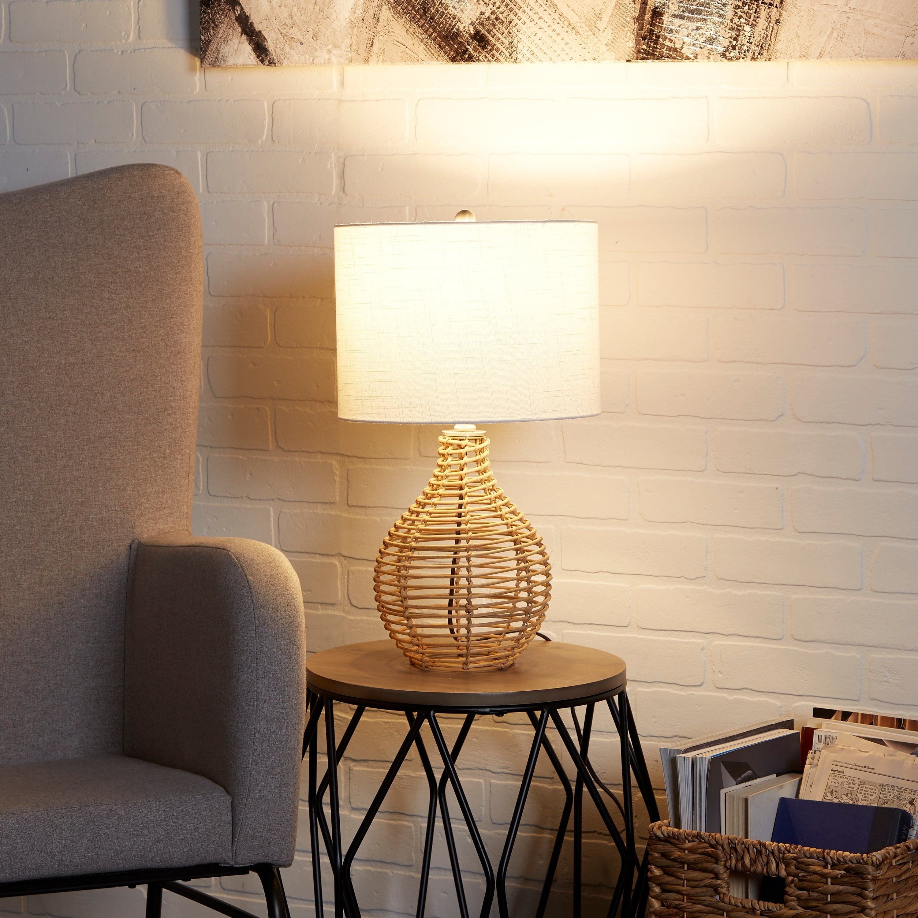 Shop Bryce Rattan Table Lamp On Sale Overstock 27813528
