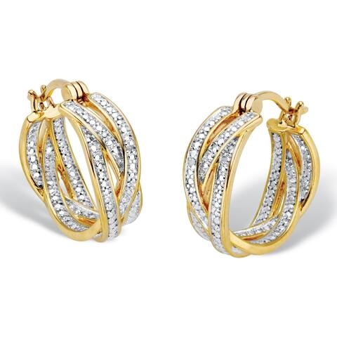 """Diamond Accent 18k Gold-Plated Two-Tone Braided Hoop Earrings 7/8"""""""