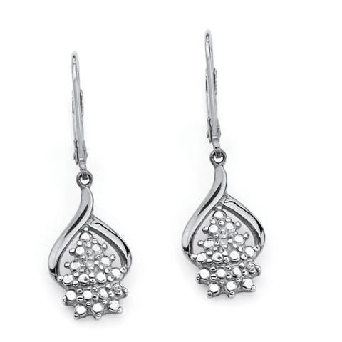 Platinum over Silver Cluster Drop Earrings (25xmm) Diamond Accent