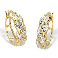 Yellow Gold-Plated Braided Hoop Earrings (21mm) Diamond Accent