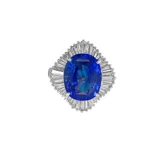 Platinum 10.24ct Ceylon Sapphire and Diamond Ring