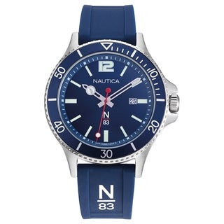 Link to Nautica N83 Men's NAPABS907 Accra Beach Blue/Silver Silicone Strap Watch Similar Items in Men's Watches