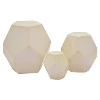 """7.75 """" Ceramic Geometric Cube S/3 in White - 7.75 x 7.75 x 7.75 5.75x5.75x5.75 3.75x3.75x3.75"""