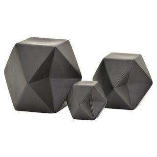 """6.5 """" Ceramic Geometric Cube S/3 in Black - 5.75 x 5.75 x 6.5 4.25x4.25x4.75 2.75x2.75x3.25"""