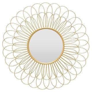 "28 "" Wall Mirror Petal Design in Gold - 28 x 0.75 x 28"