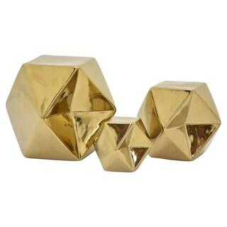 "6.5 "" Ceramic Geometric Cube S/3 in Gold - 5.75 x 5.75 x 6.5 4.25x4.25x4.75 2.75x2.75x3.25"