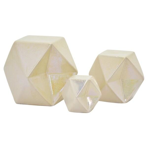 """6.5 """" Ceramic Geometric Cube S/3 in White - 5.75 x 5.75 x 6.5 4.25x4.25x4.75 2.75x2.75x3.25"""