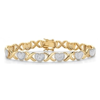 """Link to Yellow Gold-Plated Hearts and Kisses Bracelet, Diamond Accent 7.5"""" Similar Items in Bracelets"""