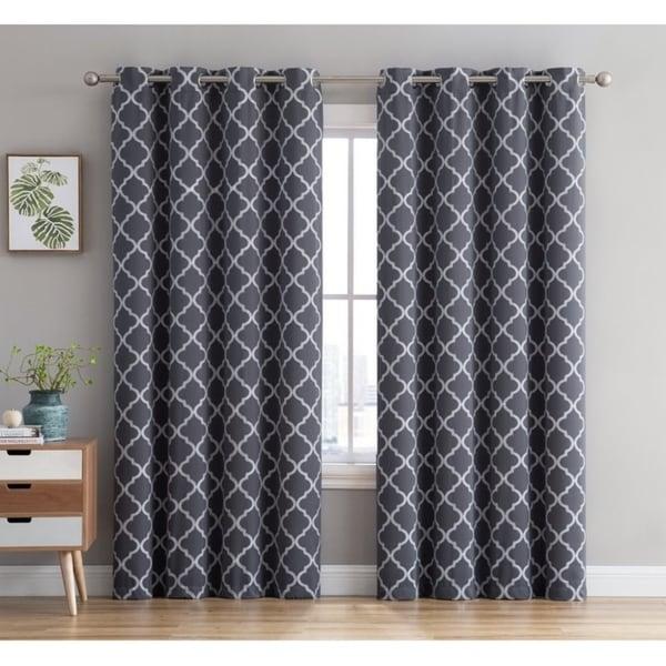 Lattice Embroidered Thermal Room Darkening Blackout Window Curtain Grommet Panels Sliding Patio Doors Single Panel