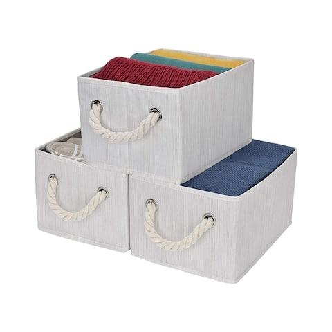 StorageWorks: Foldable Fabric Storage Bin w/Cotton Rope Handles, Ivory, 3-Pack