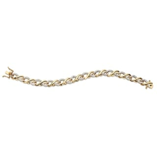 """Link to Yellow Gold-Plated Infinity Link Bracelet (8.5mm), Diamond Accent 7.5"""" Similar Items in Bracelets"""