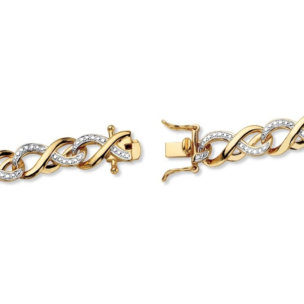 White// Yellow Gold Plated Brass Infinity Link Bracelet with Diamonds and Accents