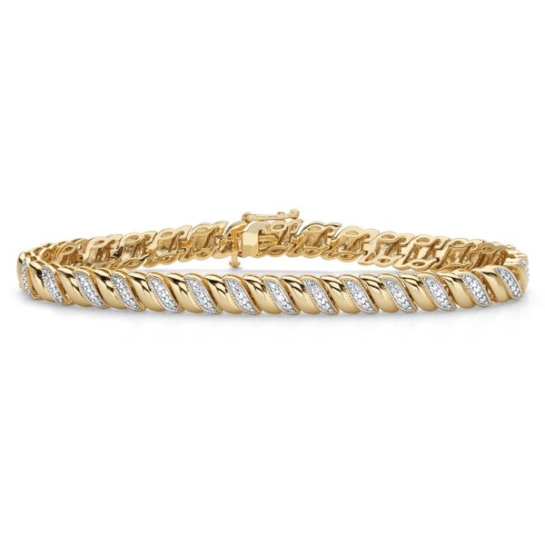"""Yellow Gold-Plated S Link Bracelet (6mm), Genuine Diamond Accent 7.25"""". Opens flyout."""