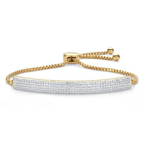 "Gold-Plated Bolo Bracelet (5.25mm), Diamond Accent 9"" Adjustable"