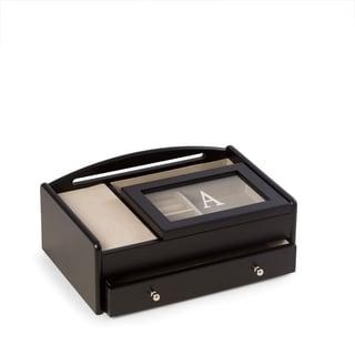 Single Initial Black Wood Valet Box