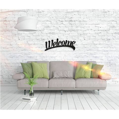Welcome - Metal Word Wall Art Home Décor Decorative Hanging Sign Ornament for Bedroom, Living Room, Dining Room Walls Black