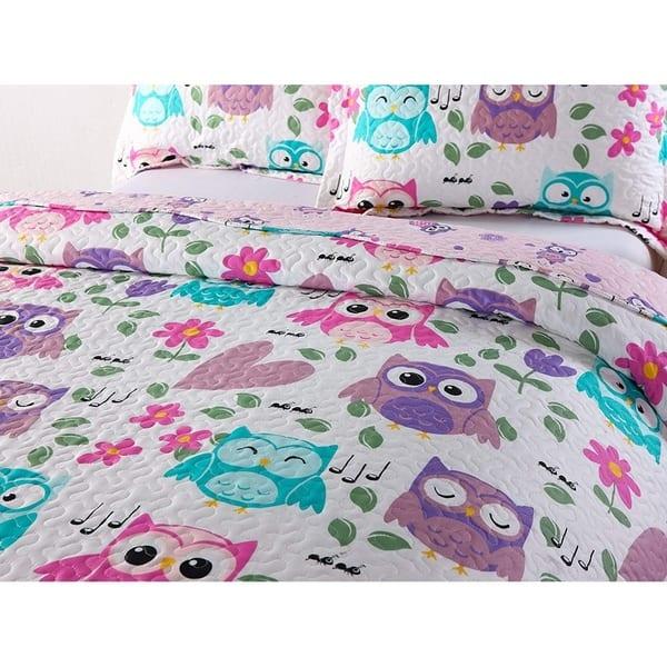 Just Contempo Kids Owl Duvet Cover Set Double Purple