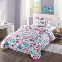 MarCielo Kids Bedspread Quilts Set Throw Blanket for Teens Boys Girls Bed Printed Bedding Coverlet Owl A32