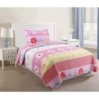 MarCielo Kids Bedspread Quilts Set Throw Blanket for Teens Boys Girls Bed Printed Bedding Coverlet Pink Floral A33