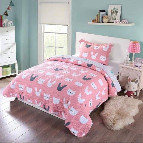 Porch & Den Emily Kitty Kids Quilt Set